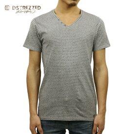 【販売期間 8/21 10:00〜8/26 09:59】 ディストレス Tシャツ 正規販売店 DSTREZZED 半袖Tシャツ V-neck s/s Y/D stripe melange 202192 97 D15S25