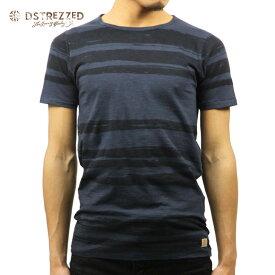 【ポイント10倍 8/22 10:00〜8/24 23:59まで】 ディストレス Tシャツ 正規販売店 DSTREZZED 半袖Tシャツ PAINTED STRIPE CREW TEE MIDNIGHT BLUE 202233 78