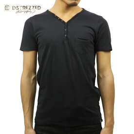 【ポイント10倍 8/22 10:00〜8/24 23:59まで】 ディストレス Tシャツ 正規販売店 DSTREZZED 半袖Tシャツ BASIC HENRY NECK TEE DK. NAVY 202242BL3 49