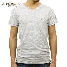 【ポイント10倍 8/22 10:00〜8/24 23:59まで】 ディストレス Tシャツ 正規販売店 DSTREZZED 半袖Tシャツ V-NECK S/S IRREGULAR STRIPE TEE 202264 02 OFFWHITE