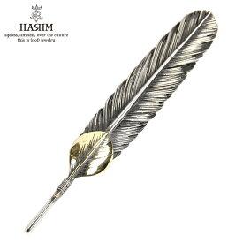 ハリム HARIM ペンダントトップ(チェーン別売り) HARIM FEATHER CENTER L HRT001 WH/OX SILVER 925 OXIDIZED BLACK with 18K GOLD HEART FEATHER