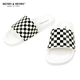 ヘンリーアンドヘンリー HENRY&HENRY 正規販売店 サンダル シャワーサンダル 180 CHECKER SHOWER SANDAL BIANCO BLACK WHITE CHECKER WHITE SOLE