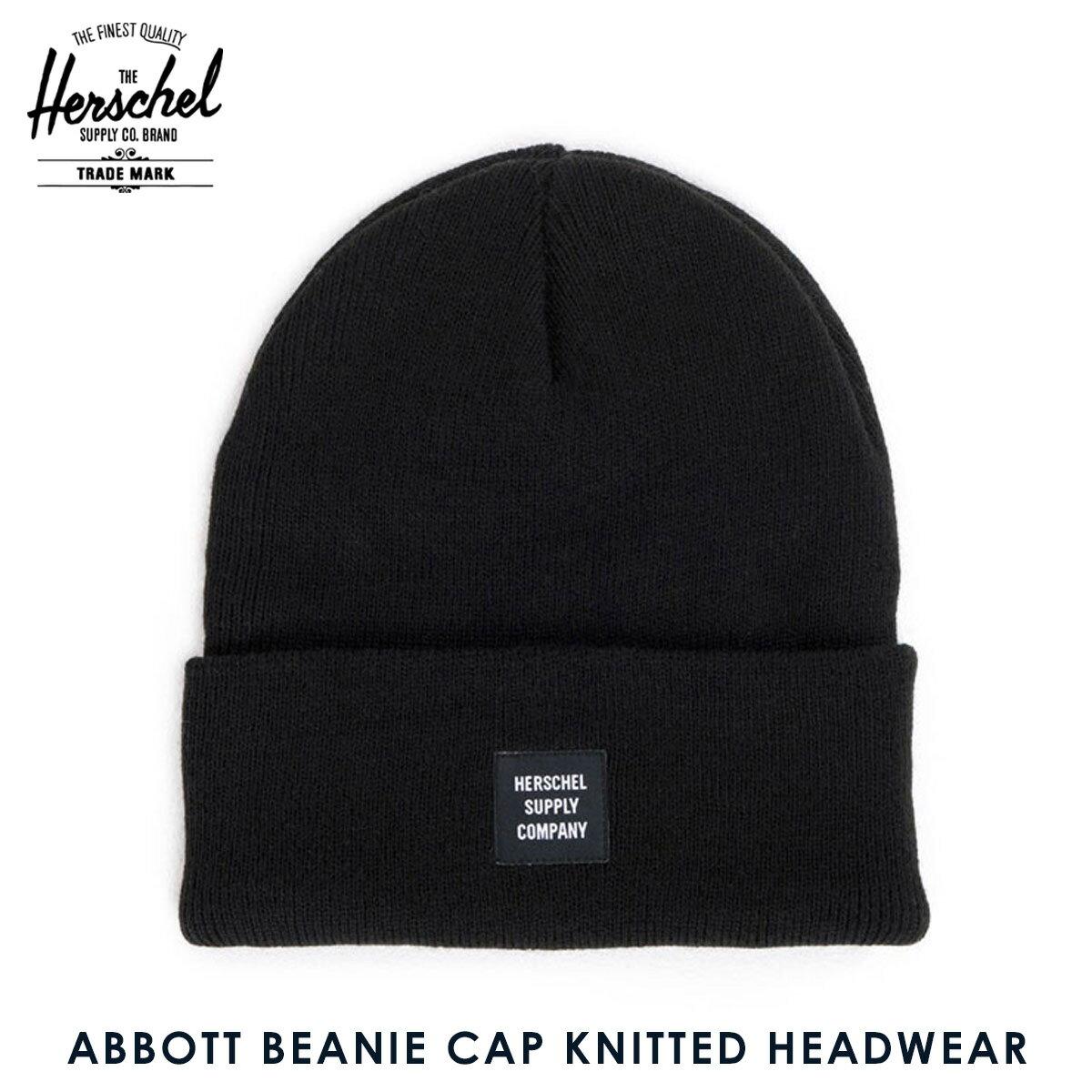 【販売期間 2/19 10:00〜3/2 9:59】 ハーシェル サプライ Herschel Supply 正規販売店 帽子 ニットキャップ ABBOTT BEANIE CAP KNITTED HEADWEAR 1001-0001-OS BLACK