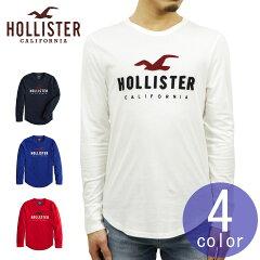 ホリスターTシャツHOLLISTER正規品メンズクルーネックロゴロンT長袖TシャツカーブヘムAppliqueLogoGraphicTee