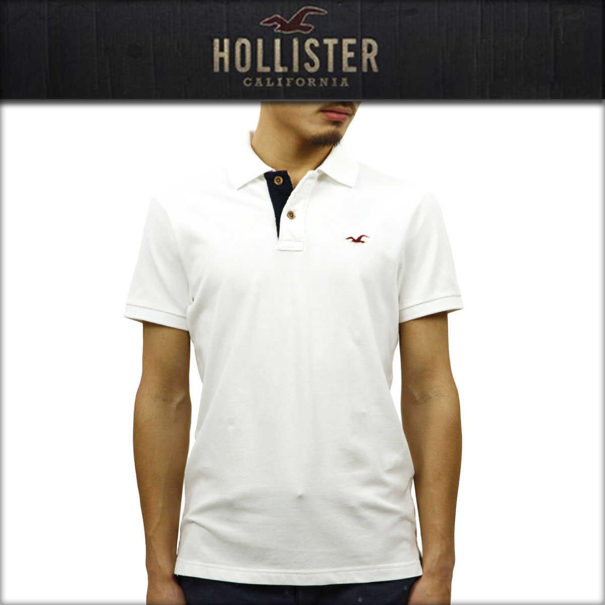 ホリスター HOLLISTER 正規品 メンズ 半袖ポロシャツ 父の日 Stretch Pique Icon Polo 321-364-0602-100