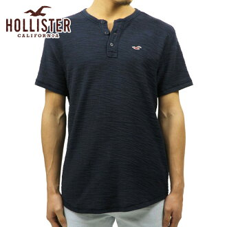 horisuta HOLLISTER正規的物品人短袖T恤Textured Boucle Henley 321-615-0327-200