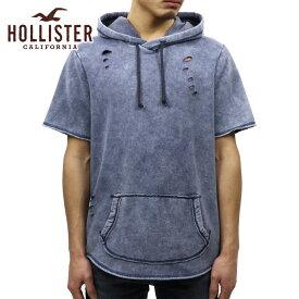 ホリスター HOLLISTER 正規品 メンズ 半袖フリースプルオーバーパーカー Short-Sleeve Ripped Hoodie 322-221-0679-200