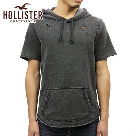 ホリスター HOLLISTER 正規品 メンズ 半袖フリースプルオーバーパーカー Short-Sleeve Ripped Hoodie 322-221-0679-900