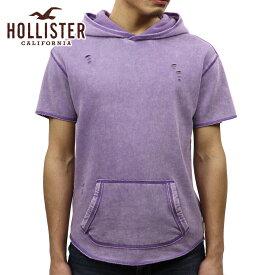 ホリスター HOLLISTER 正規品 メンズ 半袖フリースプルオーバーパーカー Short-Sleeve Ripped Hoodie 322-221-0711-630