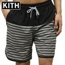 キス 水着 メンズ 正規品 KITH スイムパンツ KITH ROCKAWAY SHORT KH7002-100 BLACK / WHITE