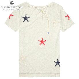 メゾンスコッチ MAISON SCOTCH 正規販売店 レディース 半袖Tシャツ PATCHED STARS T-SHIRT 134878 17 COMBO A