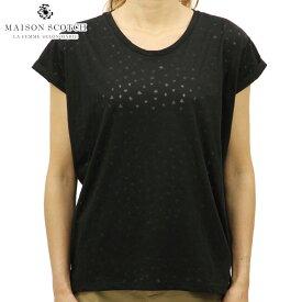 メゾンスコッチ MAISON SCOTCH 正規販売店 レディース 半袖Tシャツ RELAXED FIT SHORT SLEEVE BURNOUT TEE 137352 8 BLACK