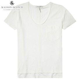 【ポイント10倍 6/21 20:00〜6/26 01:59まで】 メゾンスコッチ MAISON SCOTCH 正規販売店 レディース 半袖Tシャツ BASIC CHEST POCKET T-SHIRT 137312 1 OFF WHI D00S15