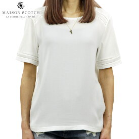 メゾンスコッチ MAISON SCOTCH 正規販売店 レディース 無地 半袖Tシャツ WOVEN AND JERSEY MIXED TEE WITH LADDER TAPE INSERTS 143755 01 54436 OFF WHI