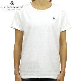 メゾンスコッチ MAISON SCOTCH 正規販売店 レディース 半袖Tシャツ フリックスデザイン AMS BLAUW FELIX THE CAT S/S TEE WITH SMALL EMBROIDERY 144963 00 64416 DENIM WHITE D