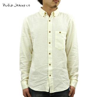 누디 청바지 셔츠 맨즈 정규 판매점 Nudie Jeans 긴소매 셔츠 Stanley 140351 3026 W02 Ecru D15S25