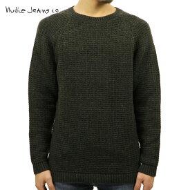 【販売期間 12/4 10:00〜12/11 02:59】 ヌーディージーンズ セーター メンズ 正規販売店 Nudie Jeans HANS STRUCTURE KNIT SWEATER 150327 6002 GREEN/GREYMELANGE