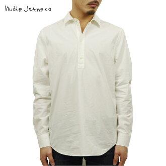 누디 청바지 셔츠 맨즈 정규 판매점 Nudie Jeans 긴소매 셔츠 풀오버 셔츠 GABRIEL POP OVER SHIRT DUSTY WHITE W41 140599 3018