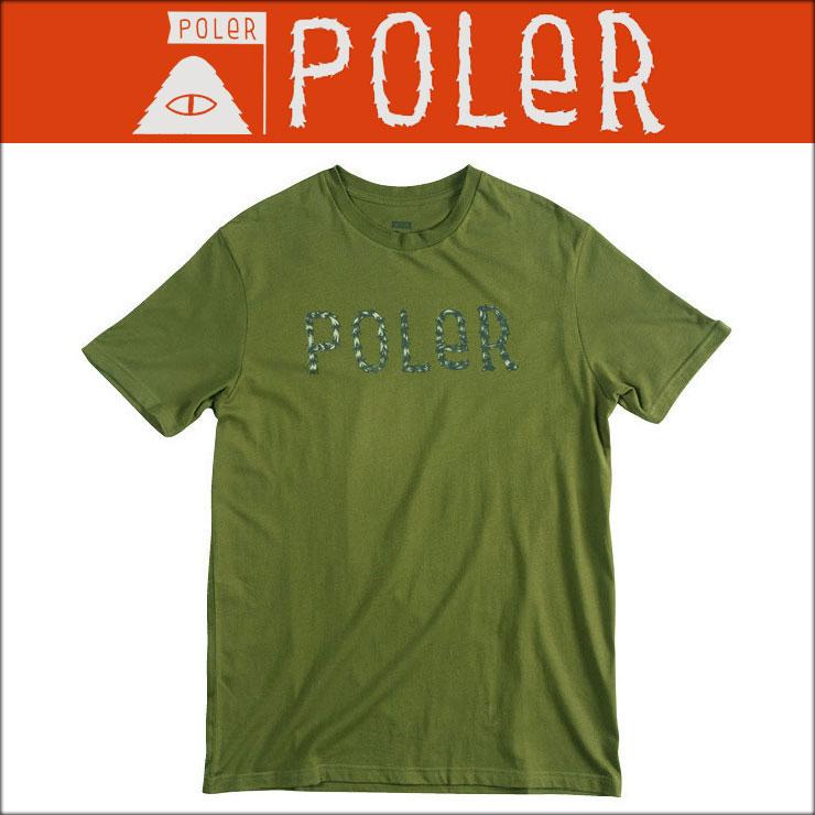 【販売期間 5/23 18:00〜5/31 9:59】 ポーラー POLER 正規販売店 メンズ 半袖Tシャツ FURRY FONT TEE 531102-OLV MOSSY
