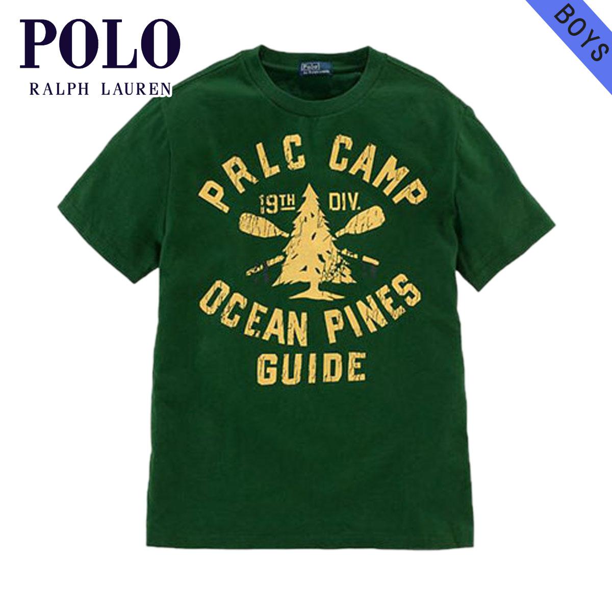 【販売期間 5/20 10:00〜5/30 09:59】 ポロ ラルフローレン キッズ POLO RALPH LAUREN CHILDREN 正規品 子供服 ボーイズ 半袖Tシャツ Short-Sleeved Polo Camp Tee #18788046 GREEN ラルフローレン D15S25
