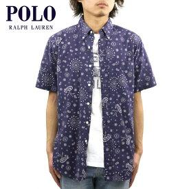 ポロ ラルフローレン シャツ メンズ 正規品 POLO RALPH LAUREN 半袖シャツ ボタンダウンシャツ Custom-Fit Bandanna Shirt NAVY D20S30
