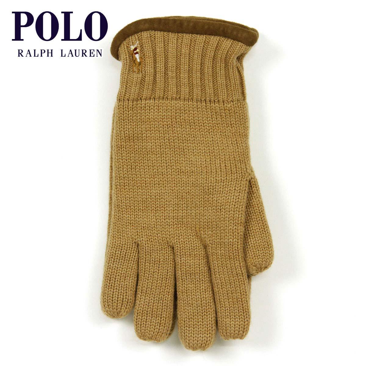 【販売期間 4/19 10:00〜4/26 09:59】 ポロ ラルフローレン POLO RALPH LAUREN 正規品 手袋 Classic Merino Gloves KHAKI D20S30