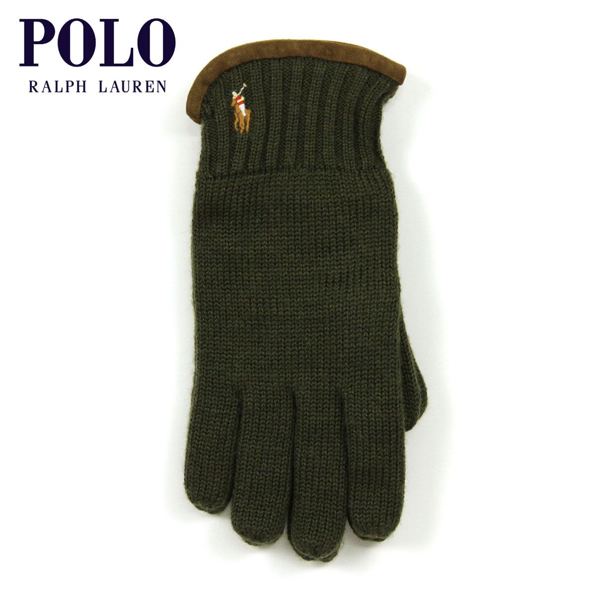30%OFFセール 【販売期間 4/22 09:00〜4/26 09:59】 ポロ ラルフローレン POLO RALPH LAUREN 正規品 手袋 Classic Merino Gloves OLIVE D20S30