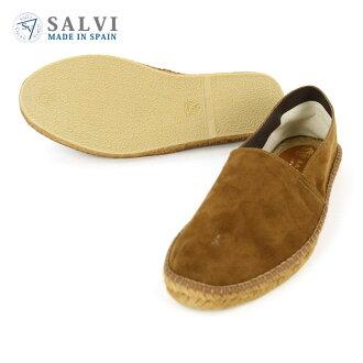 saruvi SALVI鞋正規的店鋪麻底帆布鞋ESPADRILLE SUEDE PP SHOES麻底帆布鞋反毛皮革鞋44-46PP CHOCO BROWN