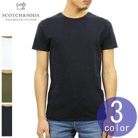 スコッチアンドソーダ SCOTCH&SODA 正規販売店 メンズ 無地 クルーネック 半袖Tシャツ CLASSIC CREWNECK TEE WITH HEM ARTWORK 142641 54410