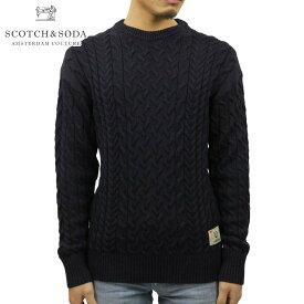 スコッチアンドソーダ セーター メンズ 正規販売店 SCOTCH&SODA クルーネックセーター WOOL COTTON-BLEND CREWNECK PULL IN CABLEKNIT NIGHT 152349 85407 78