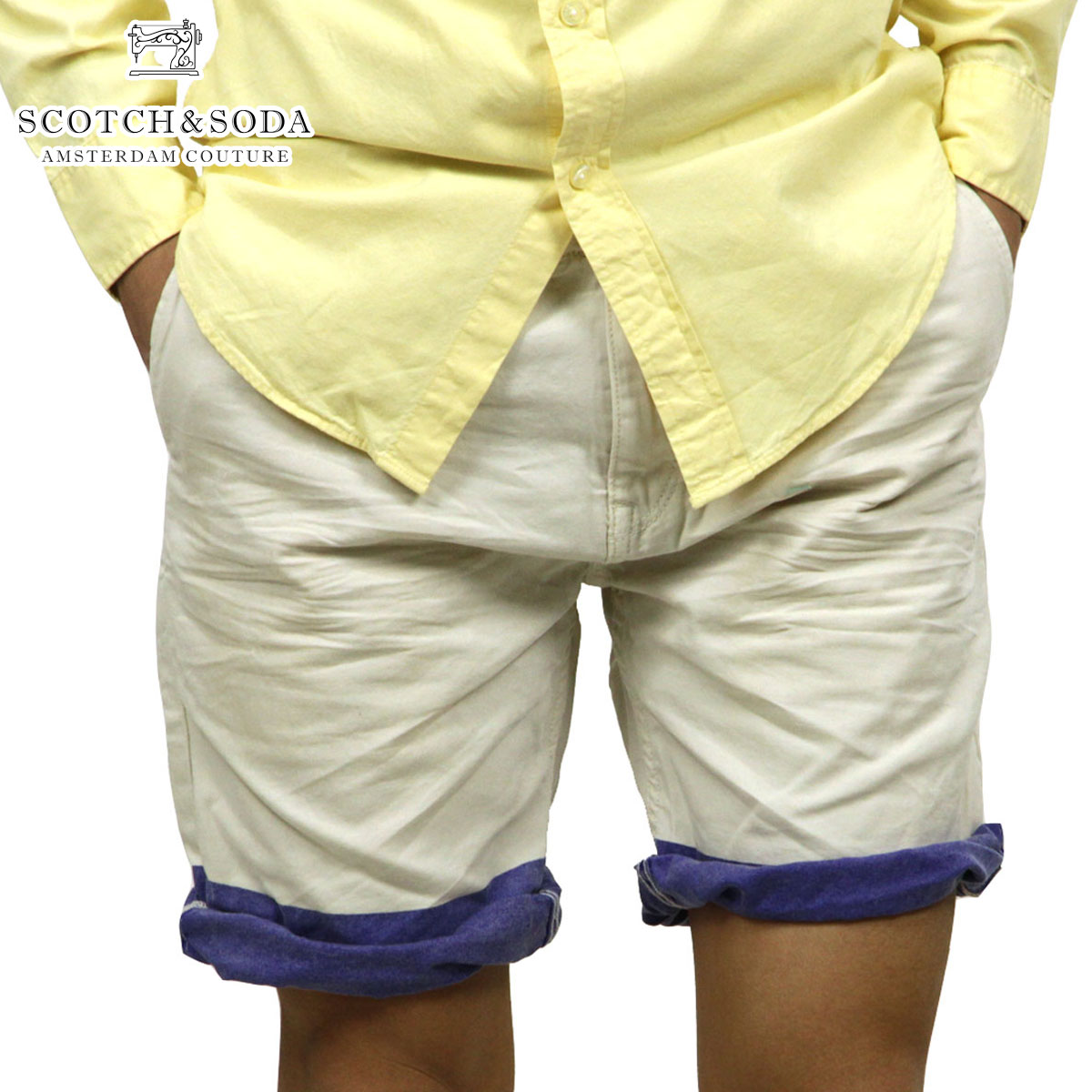 【30%OFFセール 4/21 10:00〜4/24 09:59】 スコッチアンドソーダ SCOTCH&SODA 正規販売店 メンズ ショートパンツ Freeman Chino short - Canvas Garment Dyes 87093 13