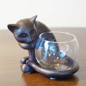 【クーポン配布中】 猫雑貨 ねこのグラスポット 花瓶 ボウル 可愛い おしゃれ 雑貨 ねこの置物 小物入れ キャンドルホルダー 癒やしアイテム インテリア雑貨 おしゃれ 置物 アンティーク 小物
