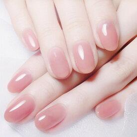 ネイルチップ 24枚入り 可愛い ピンク ワンカラー ラウンド デザイン つけ爪 送料無料