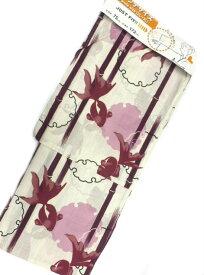 京都で一番浴衣を販売する小売屋さんお薦め【あす楽対応_近畿】2L-3Lサイズ 対応身長 160cm-175cm 仕立て上がり浴衣 生成地 金魚 柄 No.3166
