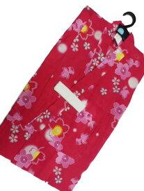女子 7〜8歳 女用 子供浴衣 赤地 金魚 桜 柄 No2962