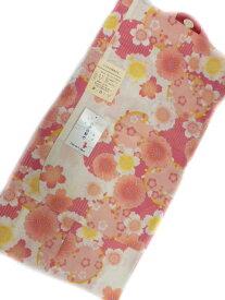 【あす楽対応】 女子 5〜6歳 女子用 子供浴衣 白地 オレンジ ピンク 八重桜柄 No3119