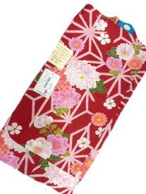 【あす楽対応】女子 7〜8歳 女用 子供浴衣 赤地 麻の葉 牡丹 柄 No3136