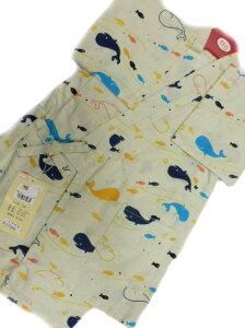 【あす楽対応】日本製 5〜6歳用 男物 子供甚平 110サイズ クリーム地 クジラ 魚 柄 No.3143