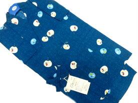 【あす楽対応】日本製 9〜10歳用 男物 子供甚平 130サイズ 濃いブルー地 うちわ 柄 No.3169