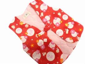 【あす楽対応】 日本製 子供 あったか ポンチョ 0〜1歳用 赤地 月 ウサギ 柄 No.3104