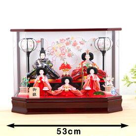 ひな人形 ケース雛 京三五 さくら刺繍 アクリル五人ケース飾