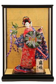 日本人形 10号 寿喜代 友禅 藤娘 黒塗ケース入り 尾山人形 御所人形