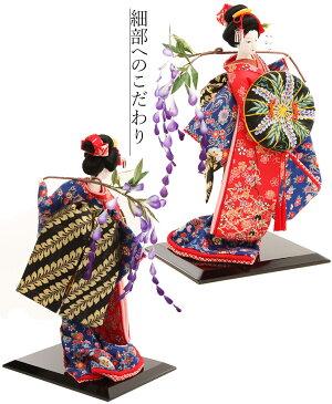 日本人形10号寿喜代友禅藤娘黒塗ケース入り尾山人形御所人形
