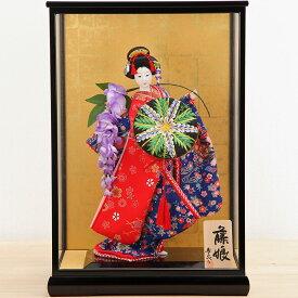 日本人形 10号 寿喜代 友禅 藤娘 黒塗ケース入り 尾山 御所 舞踊 人形 着物 JAPAN