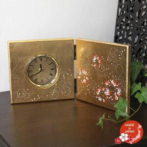 蒔絵小物山中漆器かりん屏風時計