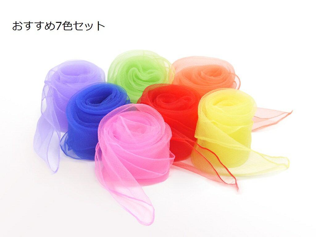【日本製】リトミック[専用]スカーフ7色セット /リズムであそぶ、かんたんリトミック/安心素材ナイロンジョーゼット