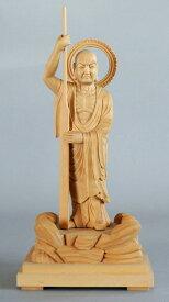 跋陀婆羅菩薩立像 つげ材 木地仕上げ総高 8寸 (24cm)