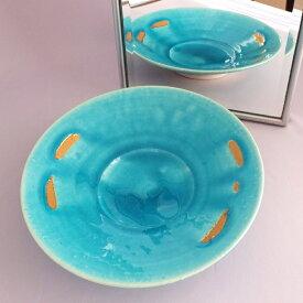 【送料無料】「清水焼7寸皿 トルコブルー(金彩)」京都 陶器 焼き物 手造り 平皿 化粧箱入 プレゼント ギフト 日本製 日本のお土産 外国人にも