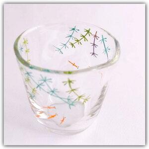 【送料無料】「京の色絵ガラス 手びねり冷茶グラス めだか」京都 和小物 和雑貨 麦茶グラス コップ タンブラー 盆 夏 おもてなし 風流 伝統 手づくり 絵付