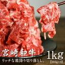 【送料無料】宮崎和牛切り落とし1kg旨味も格別なとろけるリッチな訳アリ霜降り切り落とし使いやすい200g×5パックの合計1kgでお届けとなります宮崎県産牛肉【株式会社野上食品】